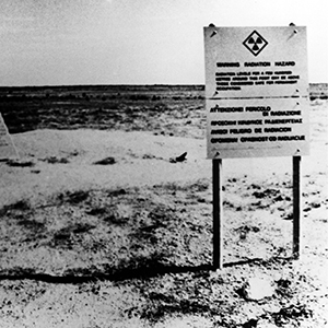 Ground Zero of the Taranaki Test at Maralinga in 1957. Two clean-up operations failed to remove radioactive contamination, and the site remains uninhabitable to this day. Photo: © News Ltd. – Sydney NSW