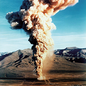 "December 18, 1970: The underground detonation of the 10 kiloton ""Baneberry"" bomb caused a giant radioactive cloud, exposed the test site personnel to about 247 PBq of radioactive particles and caused nuclear fallout in the states of California, Idaho, Orgeon and Washington. Photo: © U.S. Department of Energy"